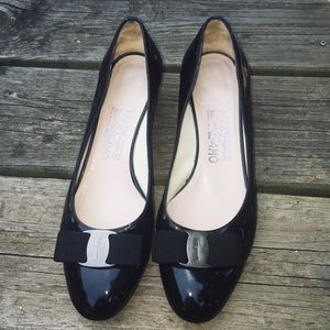 Salvatore Ferragamo Black Patent Chunky Heels